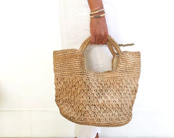 Summer Tote Bag, Raffia Shopping Bag, Woven Beach Bag, Tote Bags for Work, Straw Tote Bag