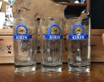 Vintage Japanese heavy KIRIN beer mugs from Japan