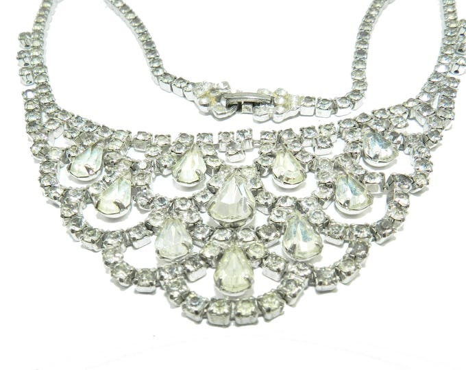 Kramer of NY 1950s Rhinestone Glass Necklace Costume Jewelry Bridal Necklace Vintage Wedding Gift for Her New York Fashion Bib Necklace