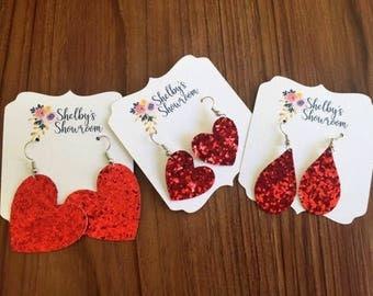 Glitter Canvas Earrings, Glitter Earrings, Heart Earrings, Valentine's Day Earrings, Valentine's Jewelry, Valentine's Accessories
