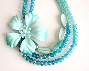Crystal Blue Necklace Wedding Jewelry Vintage Flower Necklace Turquoise Flower Jewelry Bridal Necklace Multilayered Necklace FREE SHIPING