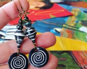 For JENNI ONLY Moonlight and Shadows on Snowy Mountain Nature Book Paper Bead Earrings WITH Custom Spiral Heartstone Gallery Ceramic Charms