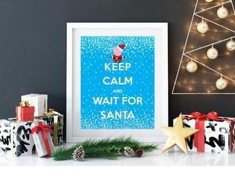 "KEEP CALM Peppa Pig Christmas Santa 8x10"" Printable Wall Art Kids Party Table Poster Home Decor Instant Download Xmas"