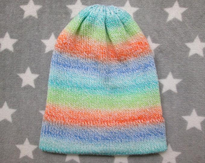 Knit Hat - Pastel Gradient - Blue Orange Green Teal - Slouchy Beanie