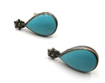 Vintage sterling silver turquoise earrings