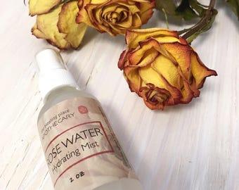 ROSE WATER, Natural Skin Care, Rose Water Spray, Rose Water Toner, Hydrating Mist, Stocking Stuffer, 2oz