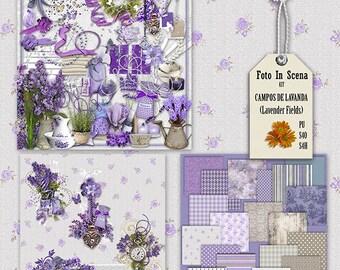 Digital kit LAVENDER FIELDS, spring, garden, flowers,lilac, lavender