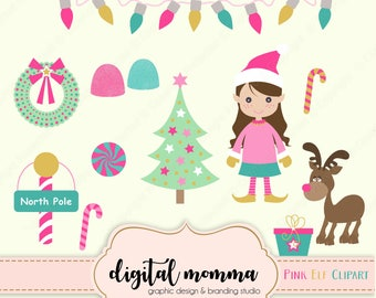 Sweet Pink Elf, North Pole, Christmas Clipart Set, Personal & Commercial use, Instant Download!