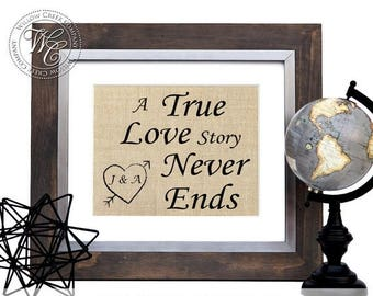 A true love story never ends, Personalized Burlap Wall Art, Initials Print, Family Sign Gift, Gift for her, Wedding Gift, Anniversary Gift