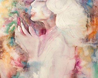 Original Watercolor Painting. Portrait of young lady with a bird in her hands. The Mother. Woman In Love. Full color.