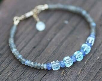 Natural Labradorite, Tanzanite and Blue Topaz Bracelet 14K Gold Filled , 4th 8th 24th Anniversary , December Birthstone , Healing Gems
