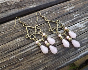 "Earrings ""serena"" Crystal pink, and glass Pearl, brass"