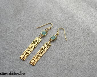 """Earrings """"Cassandre"""" plated gold connector openwork glass"""