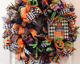 Halloween Wreath,  Halloween Mesh Wreath,  Halloween Decor Wreath, Halloween Wreaths for Front Door, Halloween Wreaths for Door