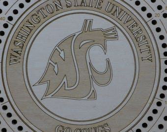 Washington State Cougars cribbage board