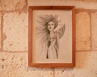 "Original dibujo en lápiz ""Mujer pájaro"""