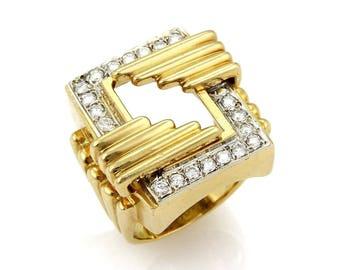 20647 - Vintage Diamond & 18k Yellow Gold Open Fancy Rectangular Ring