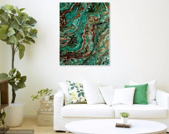 Turquoise poured liquid contemporary painting by Pamela Henry southwestern colors aqua copper burnt umber wall decor wall art