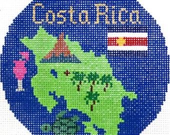 """Needlepoint Handpainted CHRISTMAS Silver Needle COSTA RICA Ornament 4.25"""" -Free Shipping!!!"""