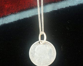 VICTORIAN SILVER pendant 1882 3p thrupence sterling 925 coin pendant