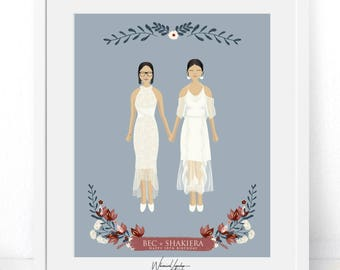 Digital Custom portrait illustration Anniversary  Engagement  wedding portrait personalized  valentines illustration printable print  art