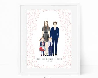 Digital Custom portrait illustration family children and baby personalized sketch wedding , drawing illustration, printable print wall art
