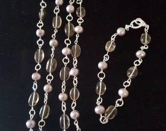 Smoky quartz and pearls