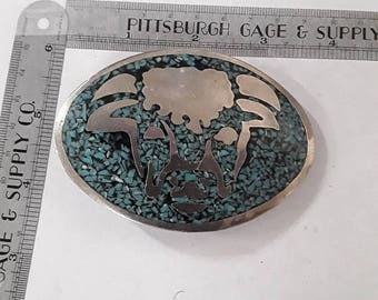 10% OFF 3 day sale Silver toned belt buckle bull design blue stone chips