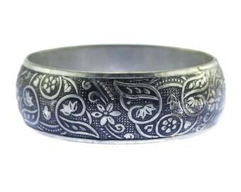 Wide Silver Bangle Bracelet, Silver Flower Bangle Bracelet, Silver and Black Bangle Bracelet, Chunky Silver Bracelet