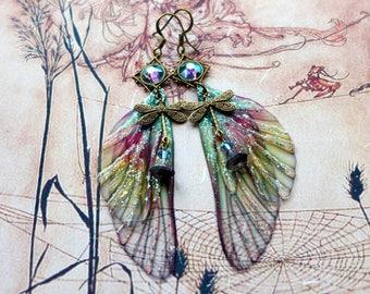 Fairy Wing Earrings, Fairy Earrings, Faerie Earrings, Rose and Green Earrings, Hand Painted, Dragonfly Earrings, Boho, Woodland Earrings