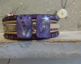 Bracelet leather cuff, leather, glass fusing purple