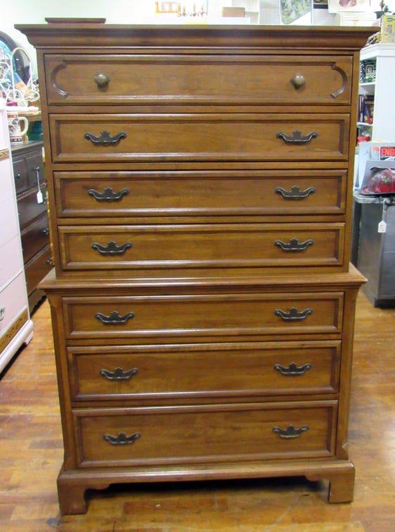 Walnut Highboy Dresser Davis Cabinet Co. Chest on Chest