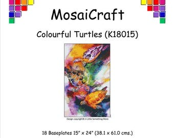 MosaiCraft Pixel Craft Mosaic Art Kit 'Colourful Turtles' (Like Mini Mosaic and Paint by Numbers)