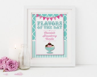 Ice Cream Party Sign and 8 Ice Cream Tent Cards - PRINTABLE Kit - Ice Cream Shoppe - Turquoise Pink Aqua - CUSTOMIZED Folded or Flat Cards