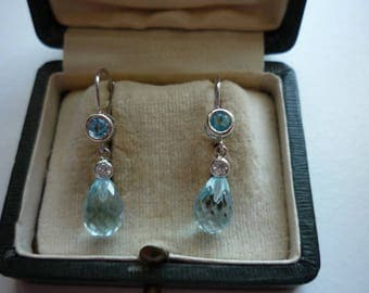 Vintage 14K White Gold Faceted Blue Topaz White Sapphire Dangling Earrings Wedding Bridal