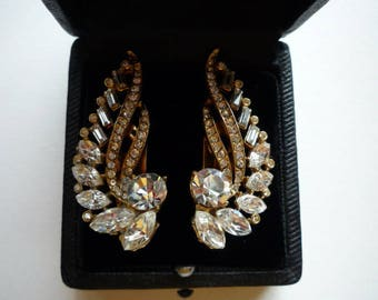 Vintage Faceted Rhinestone and Baguette Swirl Gold Tone Clip On Earrings