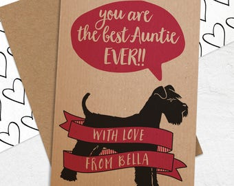 Best Auntie Etc Card with ANY Dog Breed