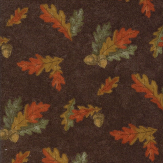 Burnt Orange Leaves On Dark Rustic Brown Background In Flannel From Holly Taylor Fall Impressions Moda Fabric By The Yard 6702 14F