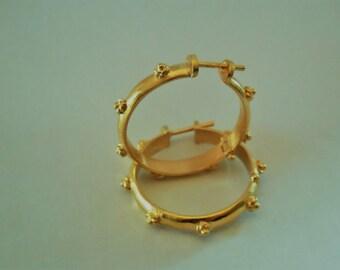 Handmade Ring Hoop Earrings Silver Sterling 925  with Flowers