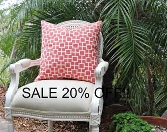 Robert Allen Cat's Cradle Linen Pillow Cover Papaya/ 20x20 Toss Accent Pillow/ Designer Custom Linen Decorative Pillow Cover