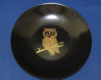 COUROC SERVING BOWL Inlaid Owl 60s Monterey California