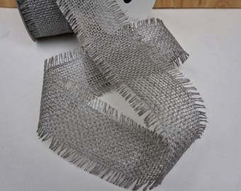 Beautiful Silver Jute Ribbon, Fringed Edges, 10 Yards Shimmery Jute Ribbon