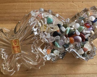 Healing Dish, Healing stones, Healing crystals, Healing bowl, small butterfly dish filled with a variety of very tiny gemstones,Spiritual