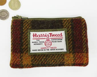 Scottish Harris tweed zipped coin purse in olive, gold and red check.