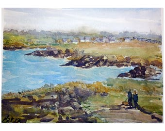 "Landscape original watercolor ""Promenade in Rothéneuf, Brittany"" painting Brittany decor france decor wall france french art sea brittany"