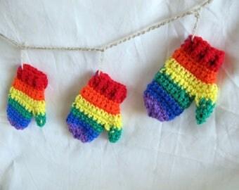 Rainbow mitten garland photo prop / rainbow mantle decor /