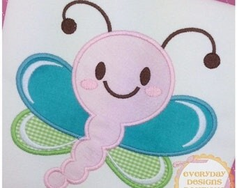 ON SALE Smiling Dragonfly Machine Embroidery Applique Design