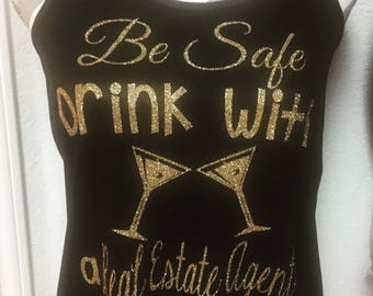 Be Safe Real Estate Agent Womens Racerback Tank