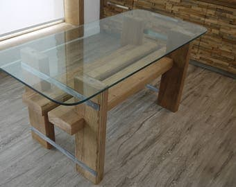 Reclaimed Wood  Dining Table. Glass Top Dinning Table. Salvaged Wood. Modern Rustic Table.