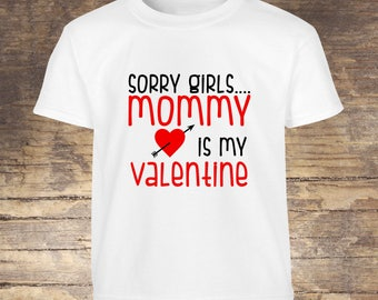 Valentine's Day Shirt Mommy is my valentine tshirt toddler kids boy girls shirts onesies